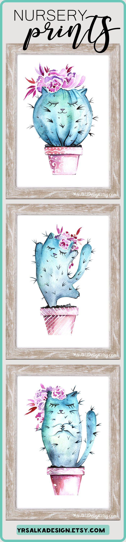 Cactus nursery Baby sliping decor Floral teal nursery pictures set Zoo animal print Zoo nursery prints Rustic nursery set Cat baby print. Look at other nursery arts by #yrsalka #instantdownload #Printable #etsyseller #nurseryart #nurserydecor #girl #cactusnursery