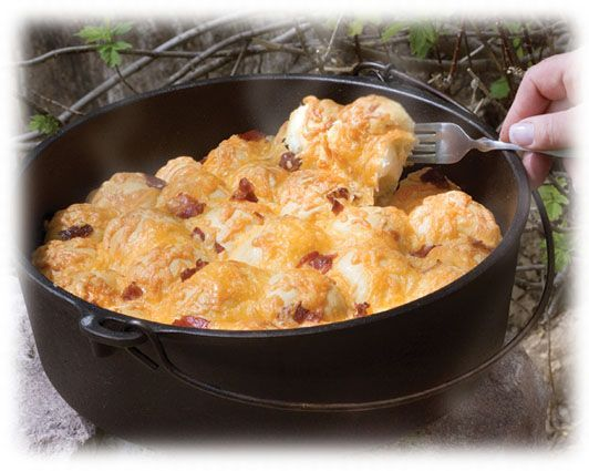Dutch Oven Bacon Cheese Pull-aparts. This makes me wish I had a dutch ...