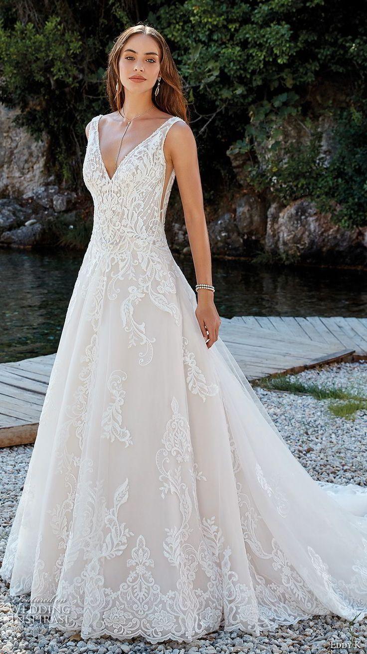 eddy k 2018 bridal sleeveless v neck heavily embellished bodice romantic elegant…