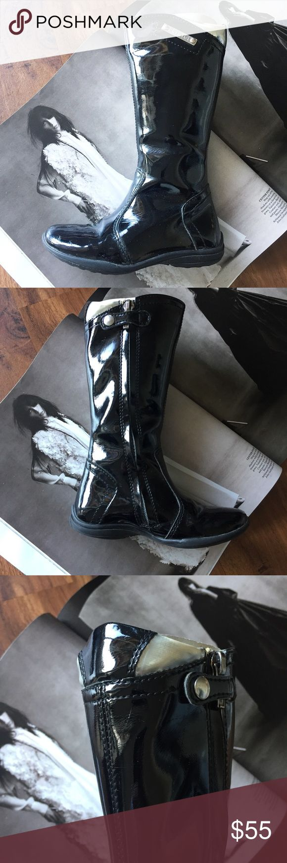 PRIMIGI patent leather tall girl boots Like new condition. Only worn once. Little scratch on one boot. Zipper. Amazing luxury quality and impeccable style. One of a kind. Chanel Dior Zara Fendi Kenzo Prada Hermes Michael Kors Valentino Lacoste Louis Vuitton Balenciaga Alexander Wang Kate Spade Hugo Boss Burberry Prada Gucci Runway Fashion show.  Free people. Premuim Signature collection. Bundle with other items to get 15% off. Primigi Shoes Boots