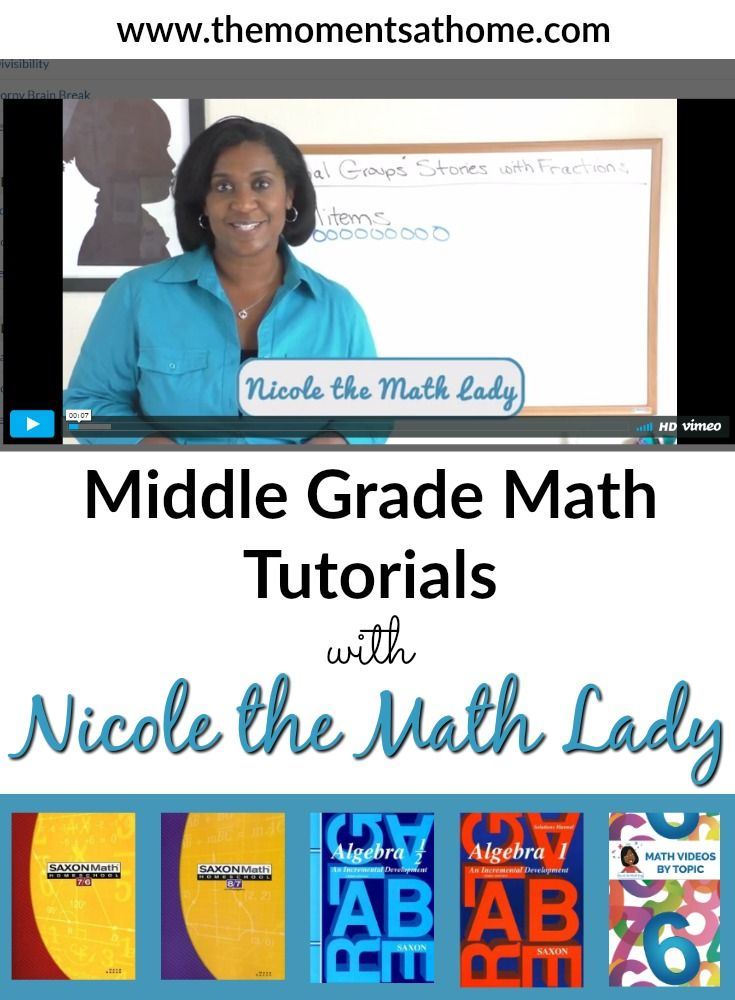 Math video lessons from Nicole the Math Lady. Saxon Math | Homeschool Math | middle school