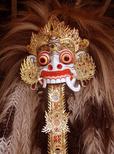 """Rangda is the demon queen of the leyaks in Bali, according to traditional Balinese mythology. Terrifying to behold, the child-eating Rangda leads an army of evil witches against the leader of the forces of good — Barong. The battle between Barong and Rangda is featured in a Barong dance which represents the eternal battle between good and evil.[1] Rangda is a term in old Javanese that means """"widow."""""""