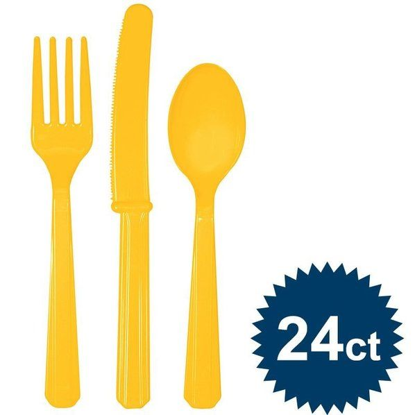 Check out Bright Yellow Cutlery Set - Cutlery Party Supplies from Birthday In A Box