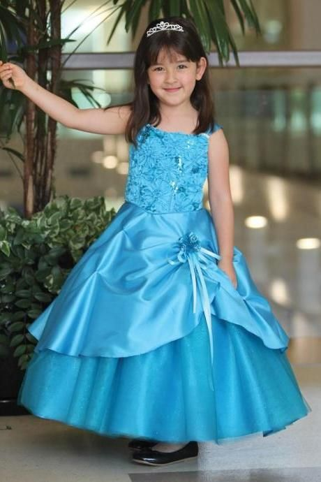 Turquoise Ball Gown Girls Pageant Dresses Taffeta Ruffles Crystal Bead Flower Girls Dresses Ankle Length Bow Girls Birthday Party Dresss