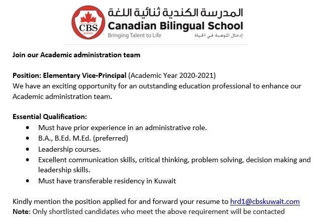 Vice Principal Teaching Kuwait Job Openings In 2020 Vice