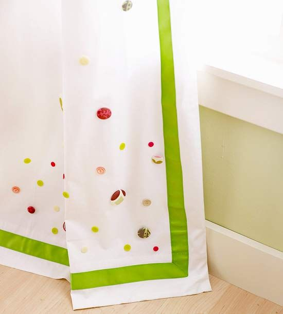 Button Accent Curtains    Are your kids tired of their plain curtains? Have your kids give them a makeover by attaching bright and fun buttons with fabric glue.