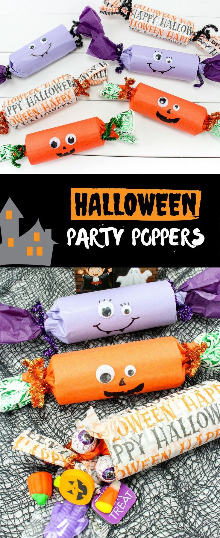 Easy DIY Halloween party poppers for kids!