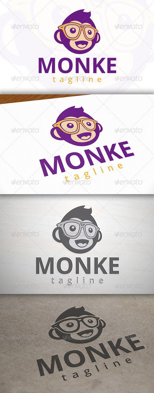 Geek Monkey Logo Template — Vector EPS #gorilla #monkey logo • Available here → https://graphicriver.net/item/geek-monkey-logo-template/6917744?ref=pxcr