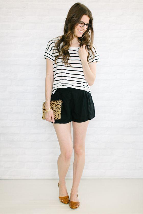 flowy shorts   flats   stripes