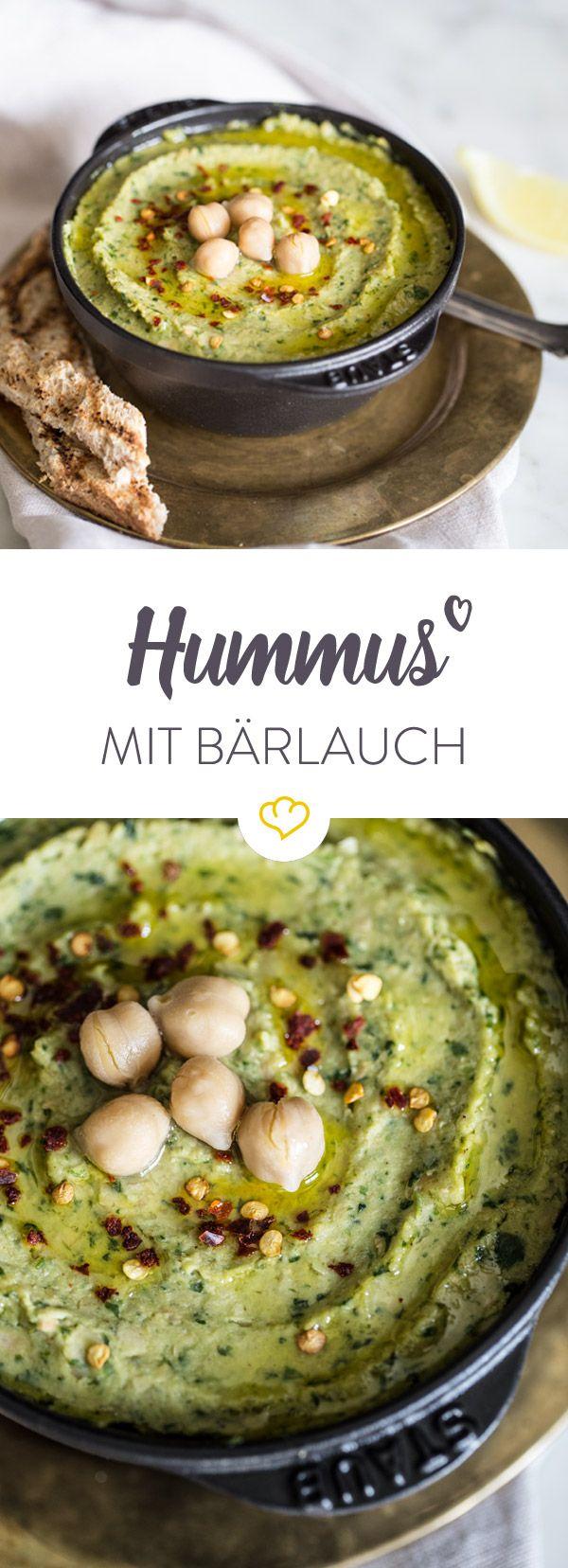 Kichererbsen und Bärlauch sind die Hauptkomponenten in dieser cremigen Hummus-Variante. Aromatisch und schnell gemacht - einfach zum Reindippen! (Fitness Inspiration)