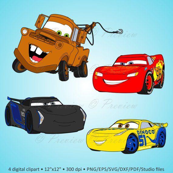 Buy 2 Get 1 Free Digital Clipart Cars Lightning Cartoon Characters Disney Party Friends Scrapbook Png