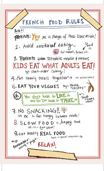 "Interesting article/book - ""French Kids Eat Everything"". Talks about how parents are in charge of food education for their kid, and how there is no such thing as ""kid's food"" in France. Kids eat what adults eat. The only reason kids may turn their nose up at something is because it's new or they haven't had it enough times to get used to the new taste."