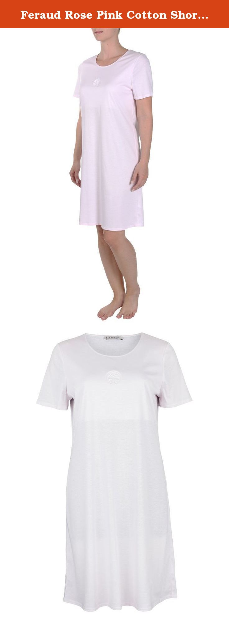 Feraud Rose Pink Cotton Short Sleeve Nightdress 3883006-10038 20 UK / 46 EU. Love the pretty light pink shade of this luxurious cotton short sleeve nightdress. Finished with Feraud signature logo at the bust. 90cm in length. A beautiful nightwear choice.
