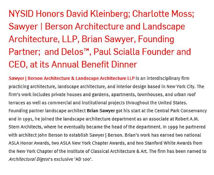New York School of Interior Design - Projects - Sawyer | Berson