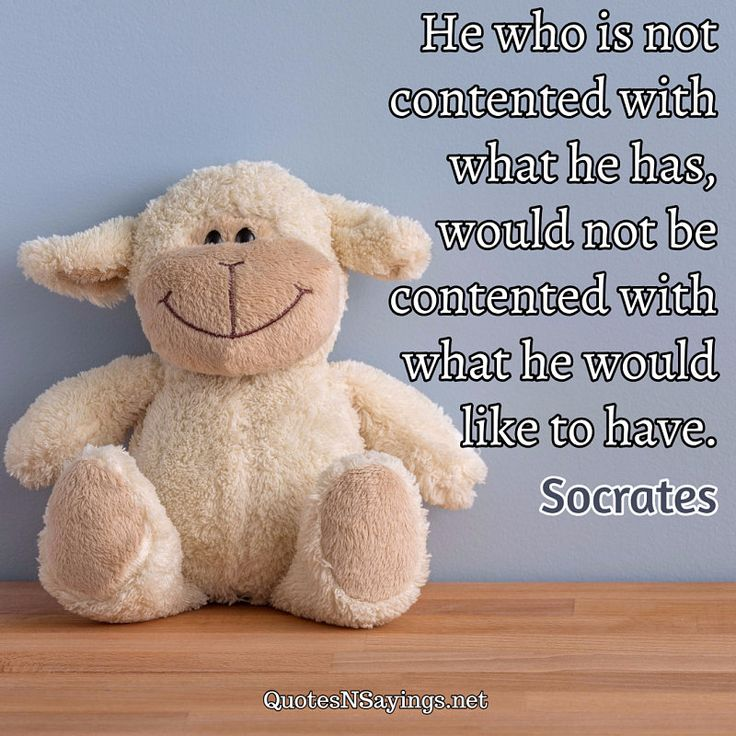 "Socrates quote about contentment - ""He who is not contented with what he has, would not be contented with what he would like to have."""
