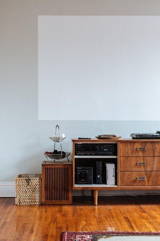 Adam & Ellen's Inspired Brooklyn Brownstone — House Tour. • Panasonic PT-AR100U projector • Projector screen paint: Sherwin-Williams Duration Home Satin Extra White #projectorscreen #hometheaterprojectorscreen