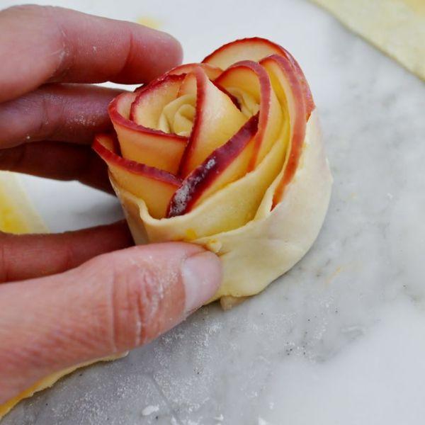 apfel muffins apfelscheiben rosen form stückchen