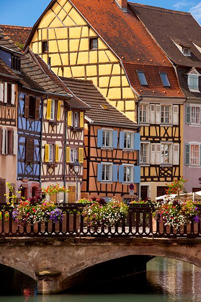 Colorful half-timbered buildings of Colmar, Alsace France