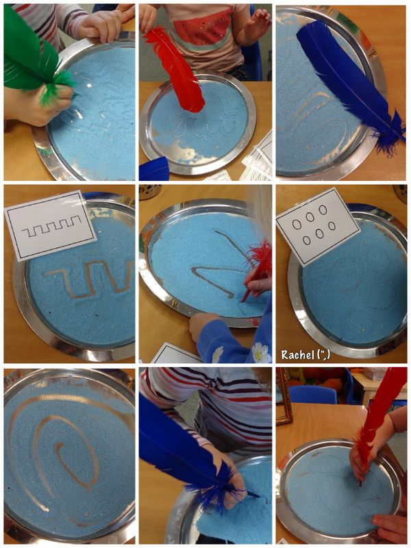 """Mark Making in Sand With """"Parrot"""" Feathers (from Stimulating Learning With Rachel)"""
