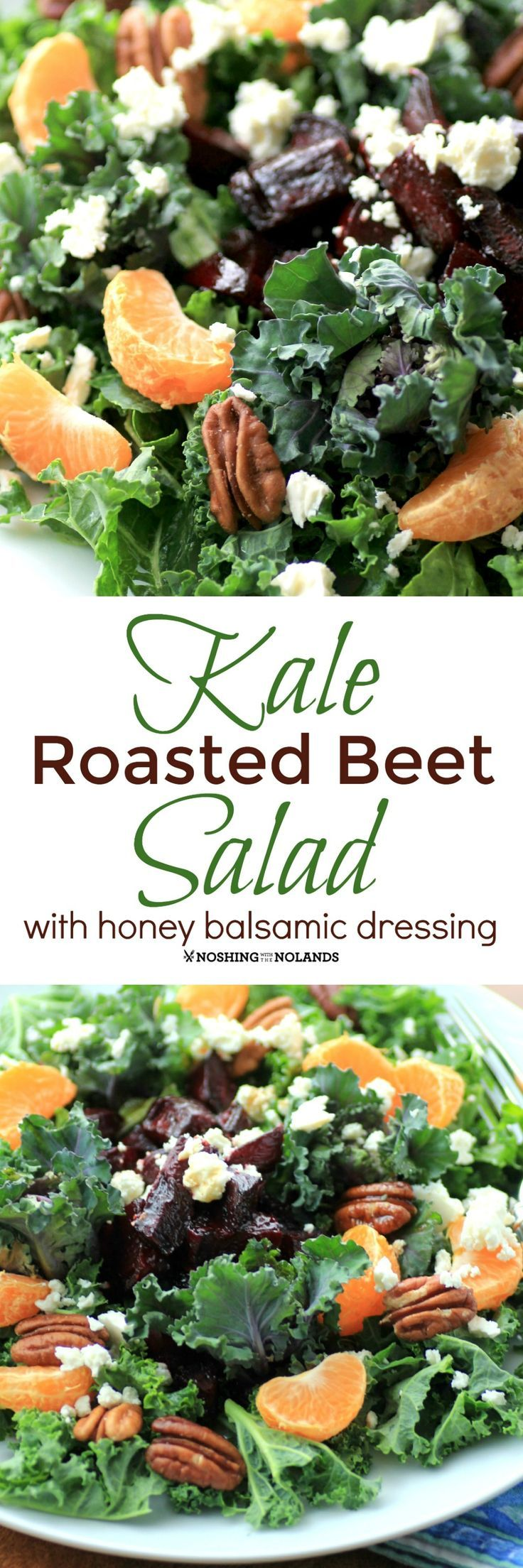 Kale Roasted Beet Salad with Honey Balsamic Dressing by Noshing With The Nolands is a heart healthy dinner salad that everyone will be raving about! #SundaySupper
