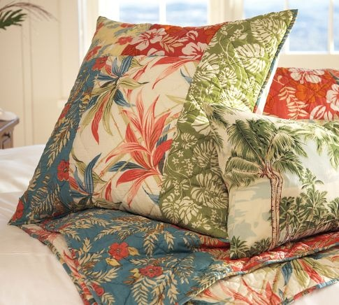 The Pottery Barn  Beach Palm Patchwork Quilt  Sham  Sun-washed prints inspired by vintage Hawaiian shirts capture the spirit of aloha. Our quilt is made of soft, light cotton voile, and filled with cotton, for breathable comfort year-round. $49.50 – $249.00