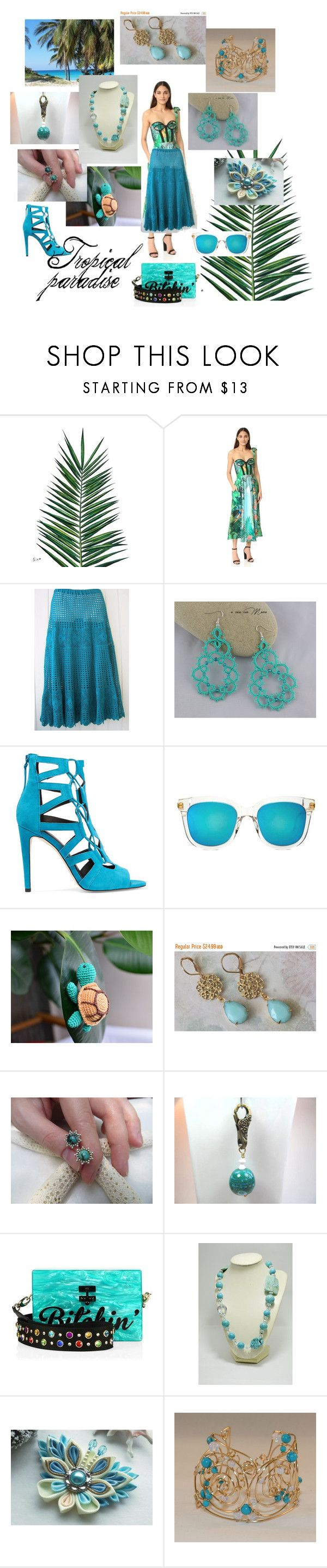 """""""Tropical paradise"""" by varivodamar ❤ liked on Polyvore featuring Nika, Rochas, Rebecca Minkoff, Gentle Monster, Edie Parker and Tela Beauty Organics"""