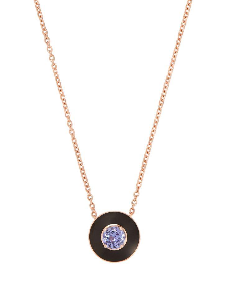 Selim Mouzannar Tanzanite, enamel & pink-gold Mina necklace