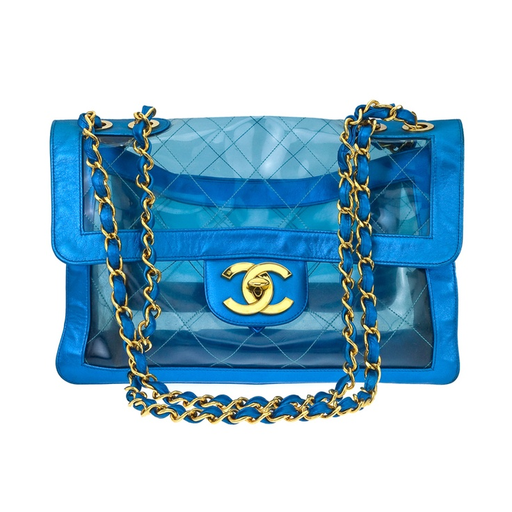 VINTAGE CHANEL BLUE METALLIC/PVC JUMBO BAG