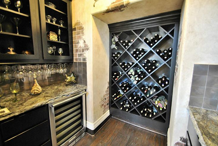 Wet bar with wine grotto custom wall paper tall custom for Wine rack built in
