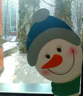 {could paint this simple snowman face, or make to display peeking out a window}