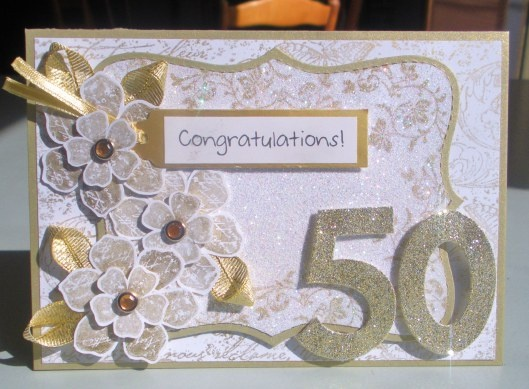 Handmade 50th Anniversary Card ... Blog - EnchantINK ... Stampin' Up! - Vintage Vogue, Very Vintage Wheel stamp