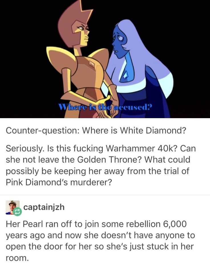 There's a theory that White Diamond doesn't exist on her own, and that she's a fusion between Yellow, Pink, and Blue. And that's why she can't appear anymore.<-- I love this theory since all colors of light combined creates white light, but the only thing is that White diamond has a diamond on her head and none of them have one