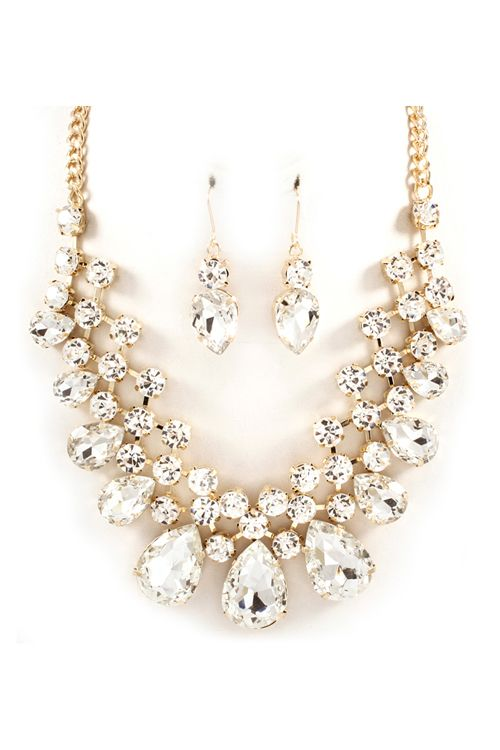 Raileen Necklace Set in Crystal on Emma Stine Limited