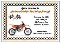Dirt Bike Birthday Party Invitations Orange  $1.00 each http://www.festivityfavors.com/item_183/Dirt-Bike-Birthday-Party-Invitations-Orange.htm