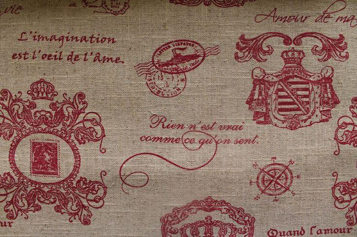 Royal Script Red on Linen