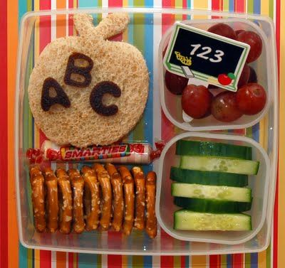 Cute lunch idea.  This site has tons, but most contain candy, heads up!