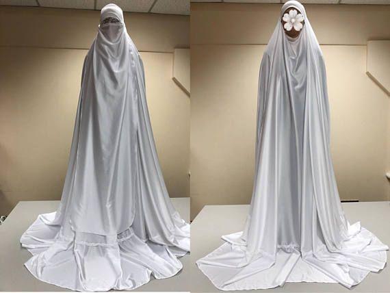 White long burqa, Muslim niqab , wedding hijab , hajjie clothing, long jilbab