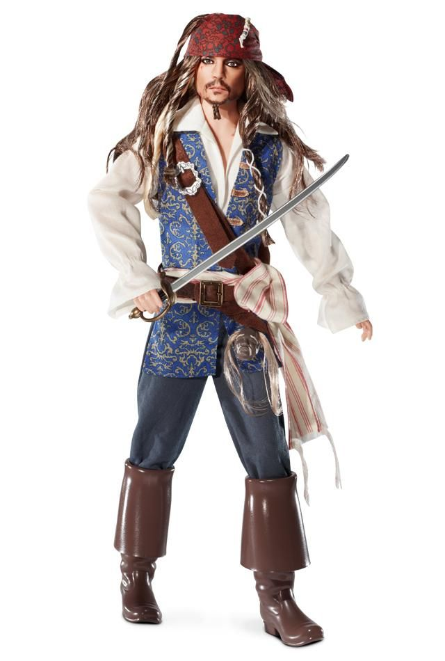 Prepare for adventure with swashbuckling style! Pirates of the Caribbean: On Stranger Tides Captain Jack Sparrow doll is sculpted to the likeness of star Johnny Depp, who plays him in the movie. This scoundrel sailor is dressed in a pirate shirt, blue and gold vest, and classic pirate boots. He completes his outfit with a sword at his side and a shrunken head strapped to his waist, and rocks a red bandana and dreadlocks.