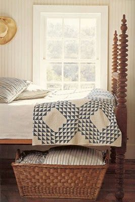Love the bed and exquisite quilt -- French basket under the bed for additional…