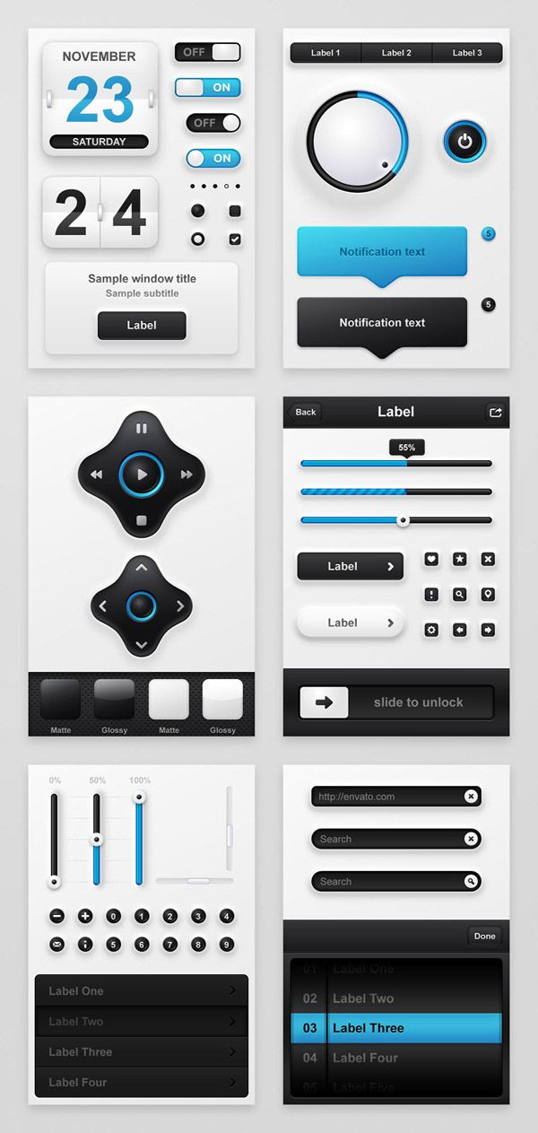 Elegant Blue and Black Mobile App UI Kit