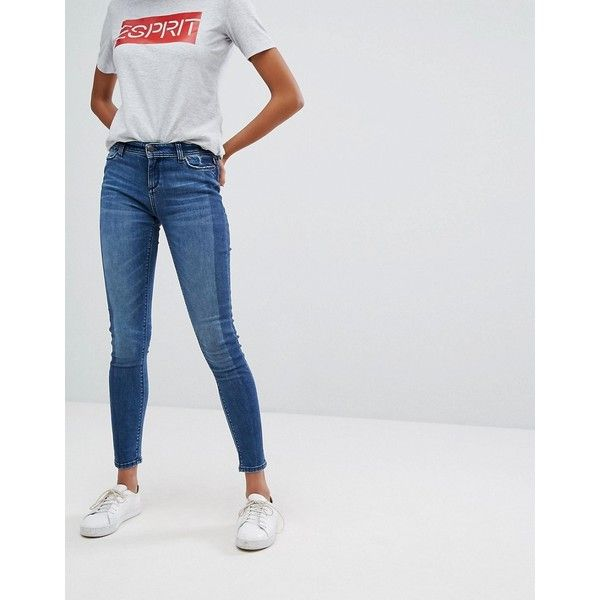 Esprit Two Tone Skinny Jeans ($68) ❤ liked on Polyvore featuring jeans, blue, leather jersey, relaxed fit jeans, relaxed jeans, tall jeans and skinny fit denim jeans