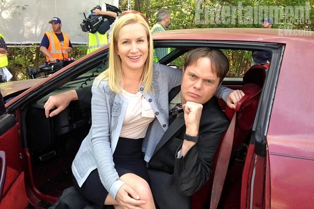 """''Dwight's car is a very pivotal character in the history of The Office and I had a lot of fun in that Trans-Am"""" Rainn Wilson and Angela Kinsey in Dwight's Trans Am filming the last episode of """"The Office""""."""