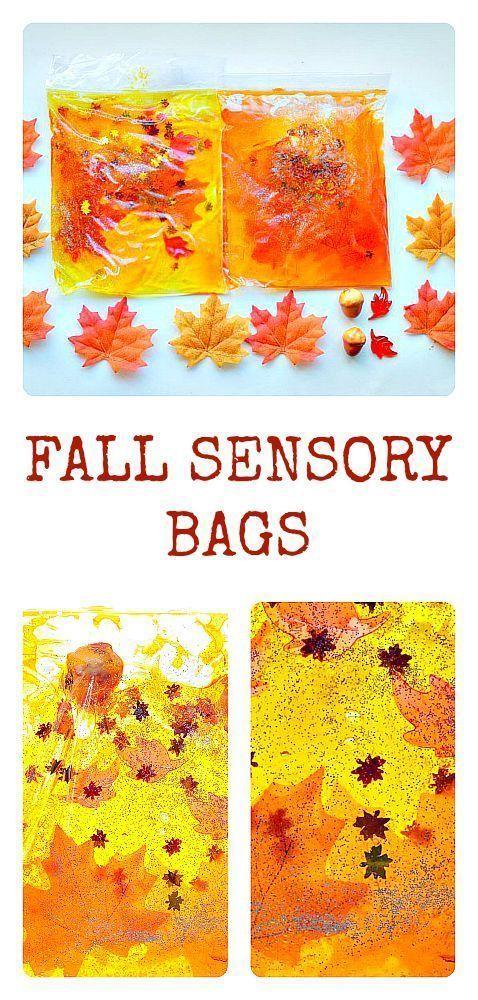 sacos sensoriais com o tema do Outono