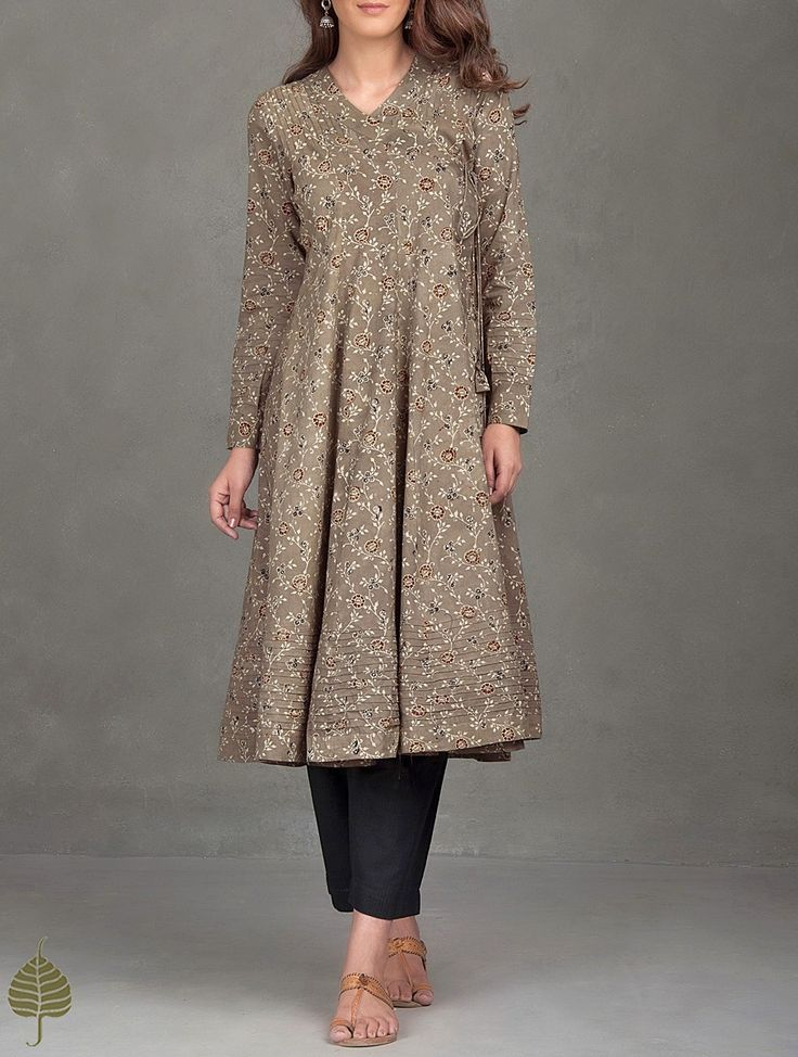 Buy Brown Madder Black Ajrak Printed Cotton Angrakha Kurta Women Kurtas Online at Jaypore.com
