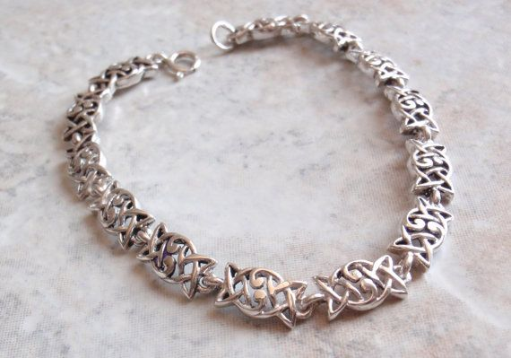 Sterling Silver Celtic Link Bracelet Trinity 7.25 by cutterstone, $54.00
