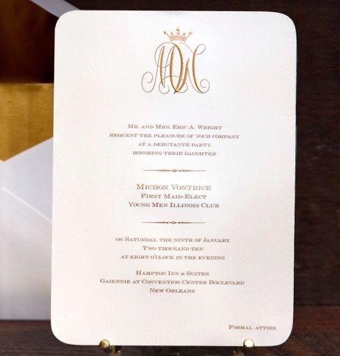 Scriptura Regal Monogram Debutante Party Invitation St