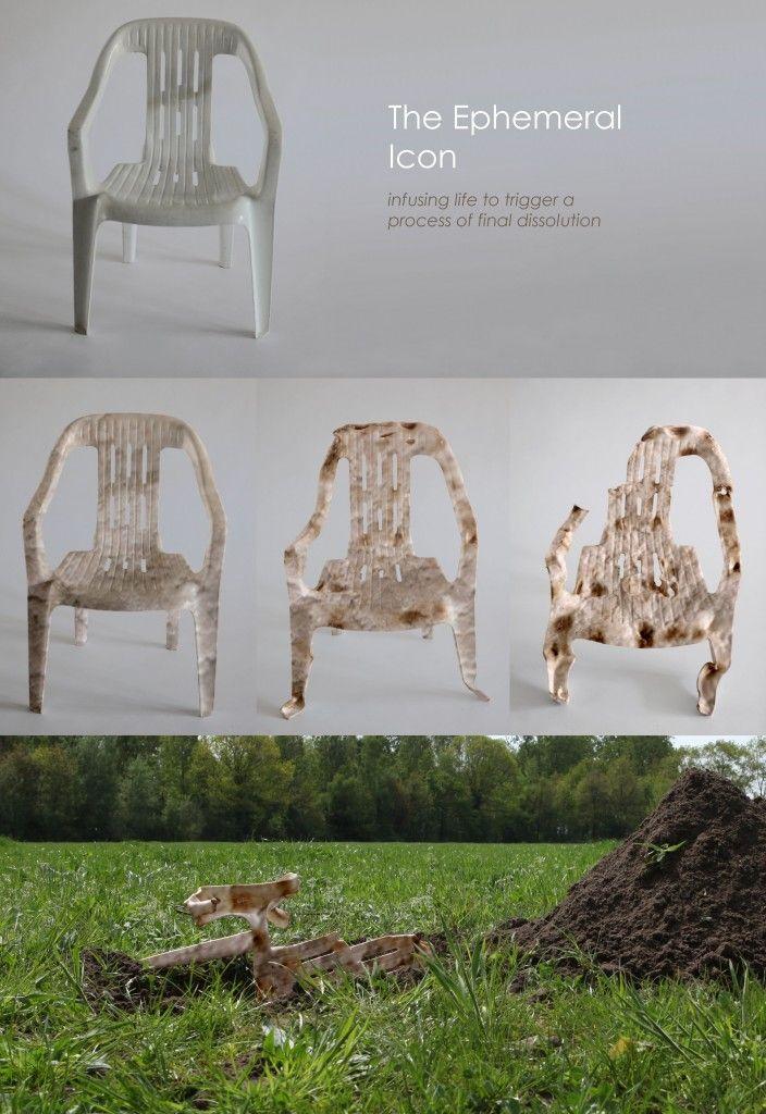 Maurizio Montalti explores the degradation of the classic plastic chair using mycelium