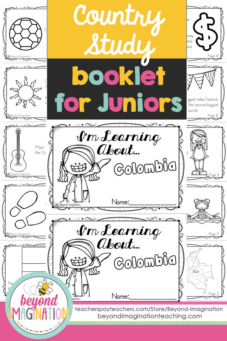 Colombia country study booklet for juniors by Beyond Imagination. This booklet includes basic information about Colombia. Perfect for teaching young ones fun facts about Colombia for a social studies lesson.