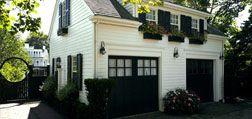 Carriage House.Guest Cottages, Village Cottages, Garages Guest House, Carriage House Garages, Black Doors, Garage Doors, Detached Garages, Black Garages Doors, Patricks Ahearn