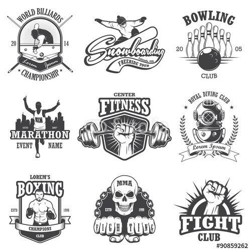Vector: Set of vintage sports emblems